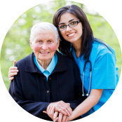 portrait of caregiver and senior woman sitting
